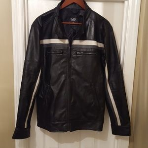 Men's faux leather motorcycle jacket Large